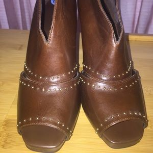 Dark brown, studded, open-toed bootie
